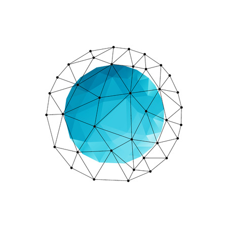 Vector color abstract geometric banner with blue triangle sphere Ilustração