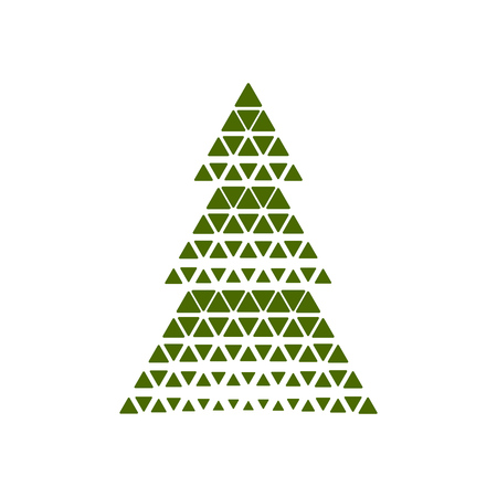 Vector illustration Merry Christmas card tree decoration.