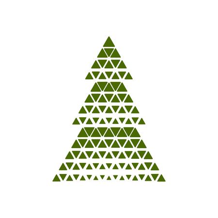 Vector illustration Merry Christmas card tree decoration.