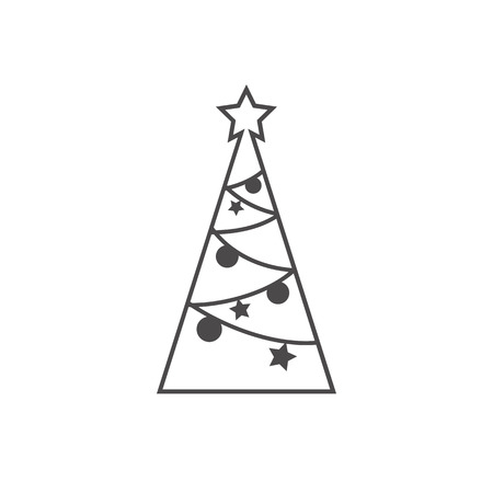 Merry Christmas tree isolated on white. Vector illustration