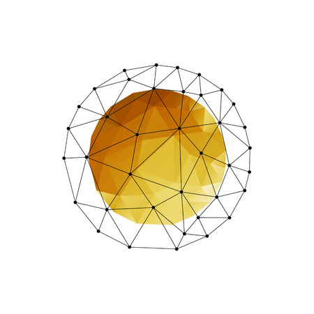 Vector color abstract geometric sphere with gold triangle.
