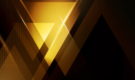 Color abstract geometric banner with gold triangle shapes