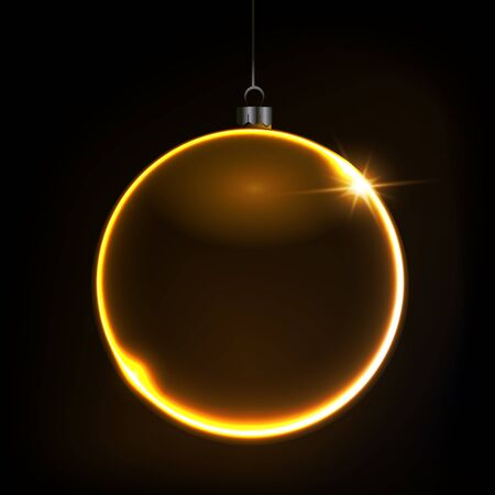 Black shiny Christmas background with gold color bauble, illustration. Stockfoto - 138520932