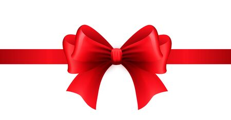 Red ribbon with bow on a white