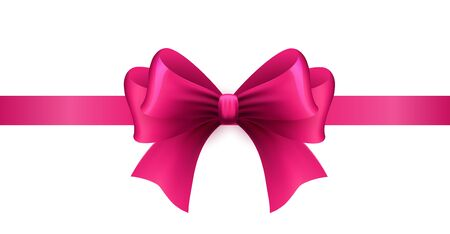 Magenta ribbon with bow on a white
