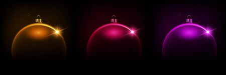 Black shiny Christmas background with color bauble, illustration.