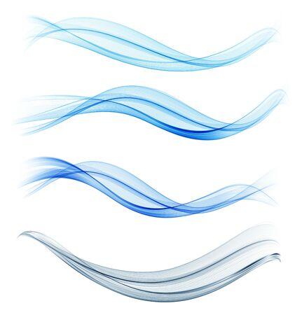 Ensemble d'élément de conception de vague abstraite bleue