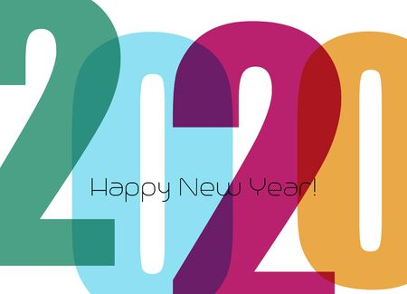 Happy new year greeting card with number 2020