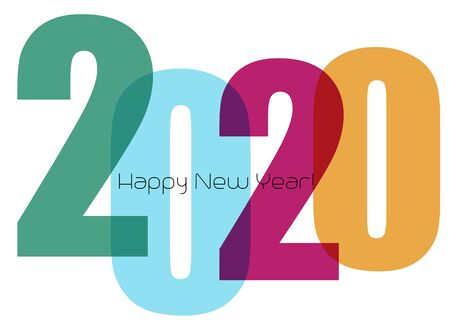 Happy new year greeting card with number 2020 Stockfoto - 131287523