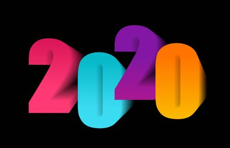Happy new year greeting with number 2020. Vector illustration