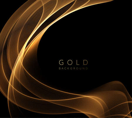 Abstract shiny golden wavy design element. Flow gold wave Stockfoto - 159282498