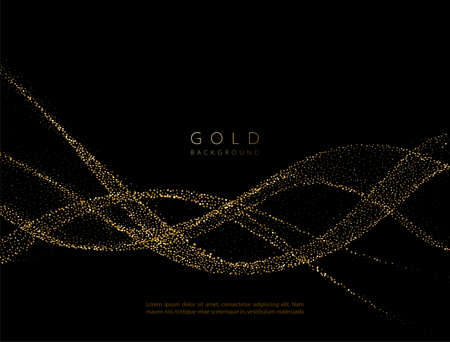 Abstract shiny golden wavy design element. Flow gold wave Stockfoto - 159282499