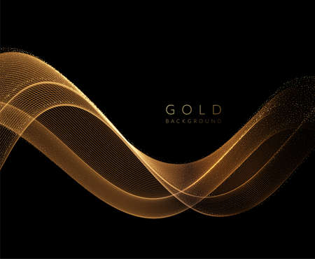 Abstract shiny golden wavy design element. Flow gold wave Stockfoto - 159282500