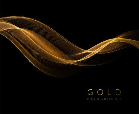 Abstract shiny golden wavy design element. Flow gold wave