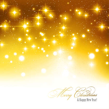 Festive gold background with gold light dots, stars, and copy space. Stock Illustratie