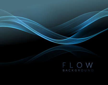 Abstract shiny blue wavy design element. Flow gold wave Stock Illustratie