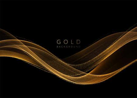 Abstract shiny golden wavy design element. Flow gold wave Stock Illustratie