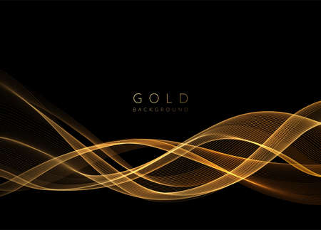 Abstract shiny golden wavy design element. Flow gold wave Stockfoto - 159282512