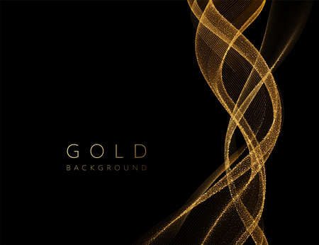 Abstract shiny golden wavy design element. Flow gold wave Stockfoto - 159282513