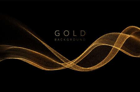 Abstract shiny golden wavy design element. Flow gold wave Illusztráció