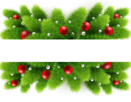 Vector christmas tree branches and space for text. Realistic fir-tree border, frame isolated on white. Great for christmas cards, banners, flyers, party posters