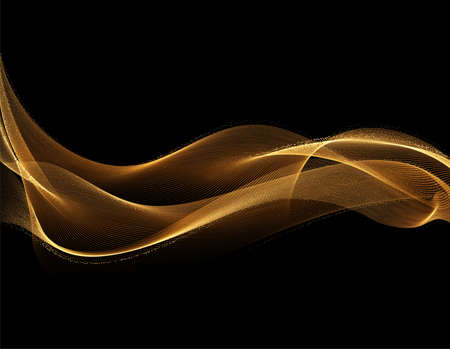 Abstract shiny golden wavy design element. Flow gold wave Stockfoto - 159775634