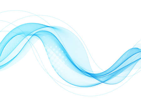 Vector blue abstract wave design element. Smoke lines