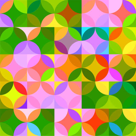 Retro seamless pattern with circles. Colorful vector background for hipster. Stock Illustratie