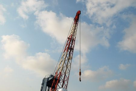 mechanization: A large lifting crane in a port