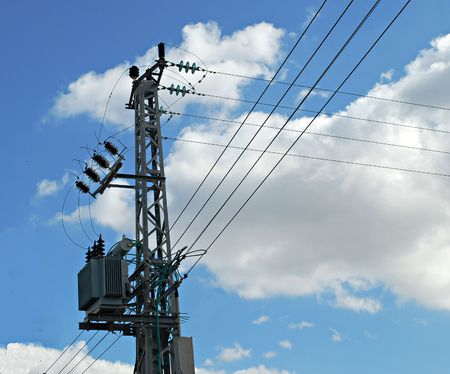 power transformer: An overhead power line and a lowering transformer