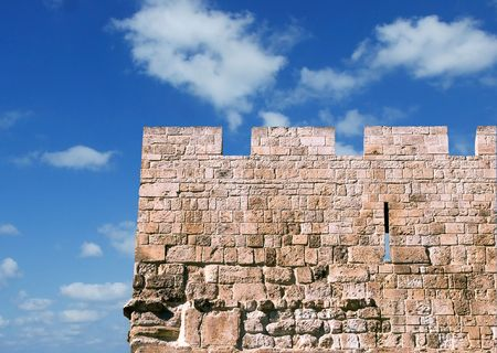 stronghold: Wall of old city of Jerusalem Stock Photo