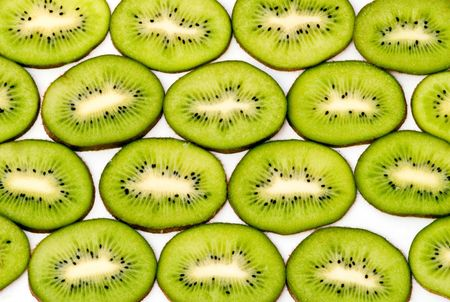 national fruit of china: Slices of kiwi fruits isolated on white background