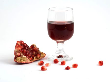 superfruit: Pomegranate and glass of juice