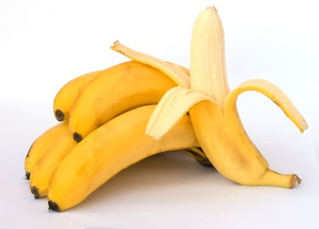 nourishment: Bunch of bananes isolated on whie background