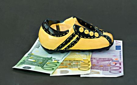 accumulation: footwear the money bank isolated on black background