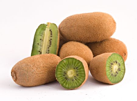 national fruit of china: Kiwi fruits isolated on white background Stock Photo