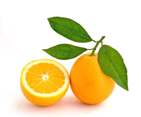 Orange and its section isolated on white background Stock Photo - 4042991
