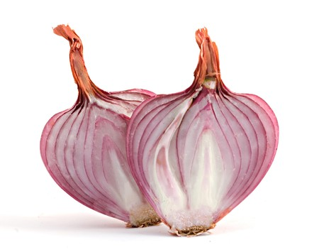 Two onion halves isolated on white background photo