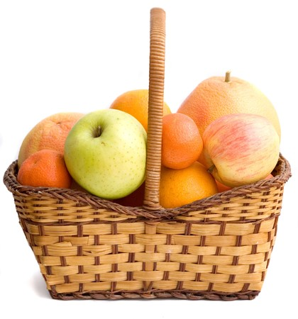 Tangerines, grapefruits, apples, and oranges in basket photo