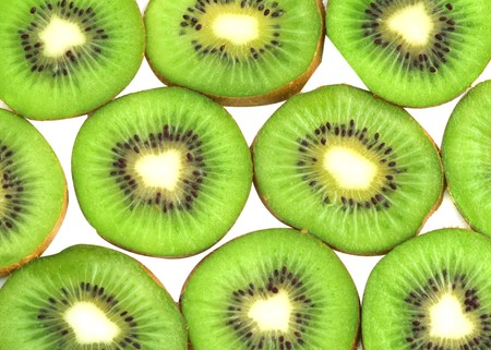national fruit of china: Kiwi fruit slices isolated on white background