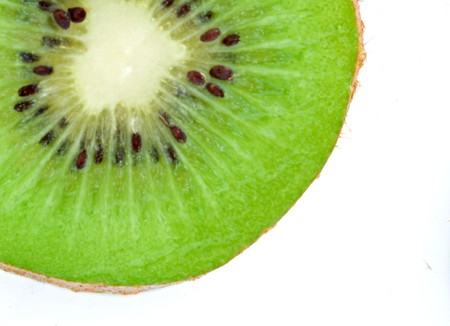 national fruit of china: Kiwi fruit slice isolated on white background Stock Photo