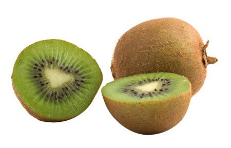 national fruit of china: Kiwi fruit and its sections isolated on white background Stock Photo