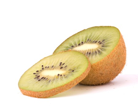 national fruit of china: Section of kiwi fruit isolated on white background