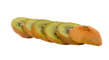 national fruit of china: Slices of kiwi fruit isolated on white background