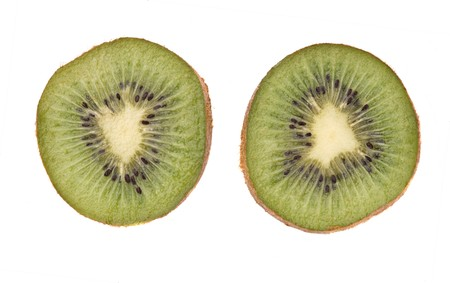 national fruit of china: Sections of kiwi fruit isolated on white background Stock Photo