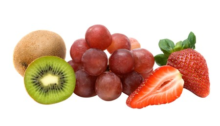 national fruit of china: Kiwi, gtapes, and strawberries isolated on white background