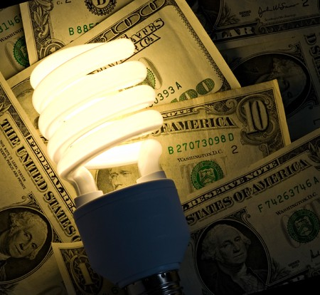greatly: The picture shows that usage of fluorescent lamps greatly reduces electricity bills