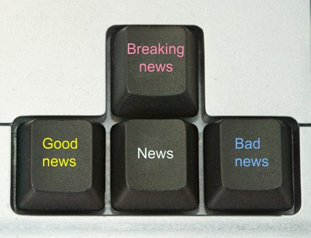 Keys for bad , good, and breaking news photo