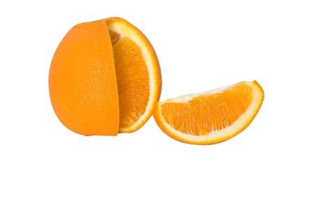 segment: Orange and its segment isolated on white background
