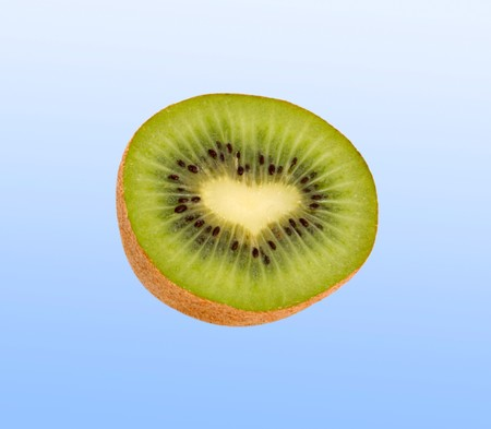 national fruit of china: Section of kiwi fruit with heart-like middle isolated on white background Stock Photo